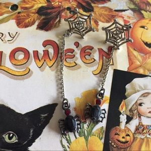 Jewelry - Halloween Ruby Spider With Web Earrings VTG
